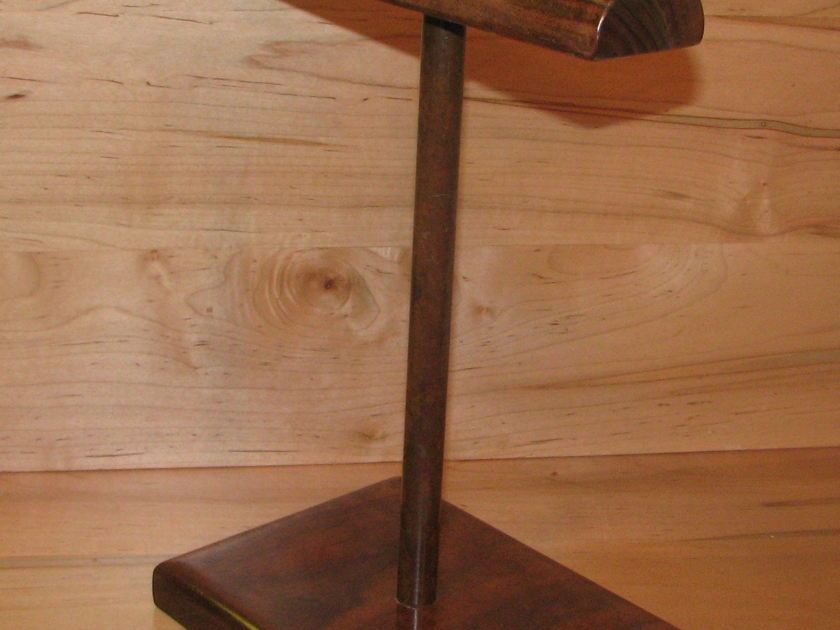 HHG Stands New Headphone Stand Curly Walnut w Patina Copper Post B Stock read description