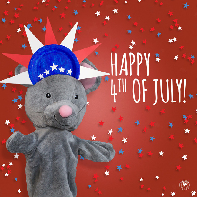 Happy fourth of July poster featuring Mia the mouse hand puppet wearing a patriotic head band