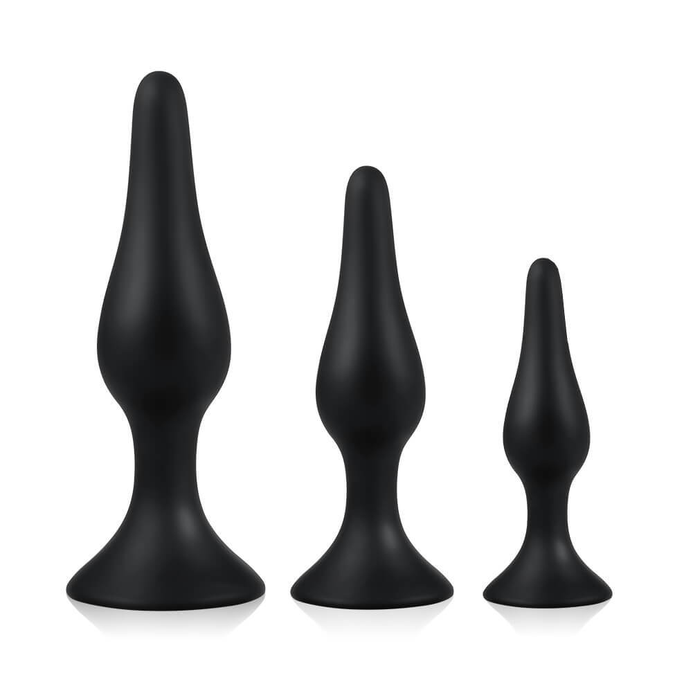 Utimi Anal Plugs in Silicone Black 3 Pcs for Anal Relaxation