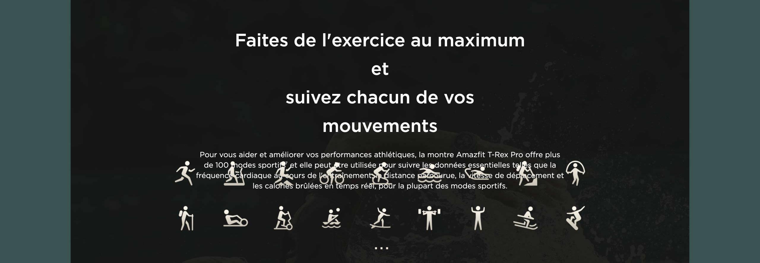 Amazfit T-Rex Pro - Faites de l'exercice au maximum et suivez chacun de vos mouvements.