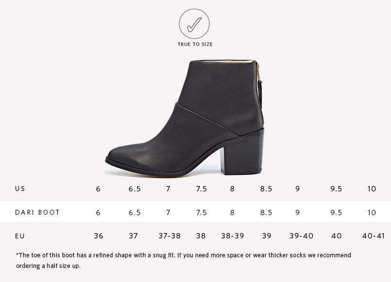 Nisolo Dari Boot Sizing Guide
