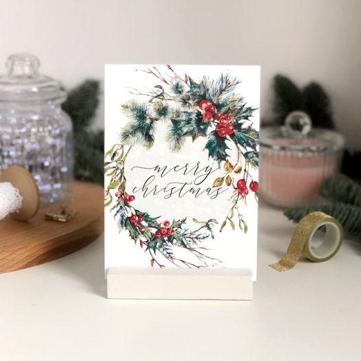 """Открытка """"Merry Christmas"""" с венком"""