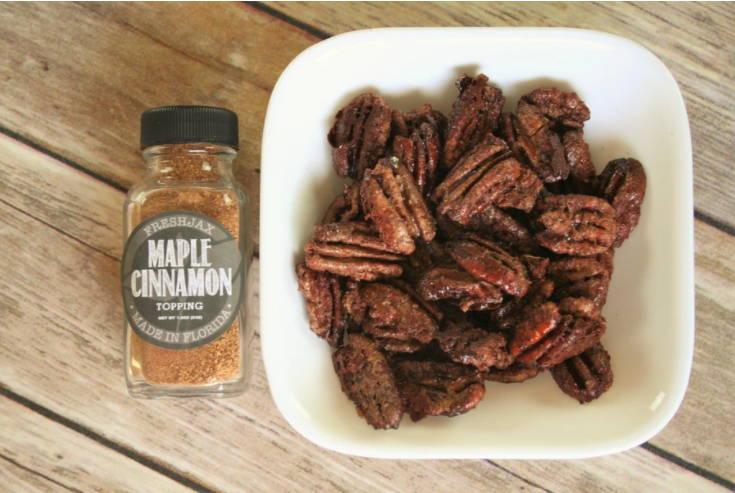 FreshJax Organic Maple Cinnamon Topping and maple cinnamon seasoned pecans.