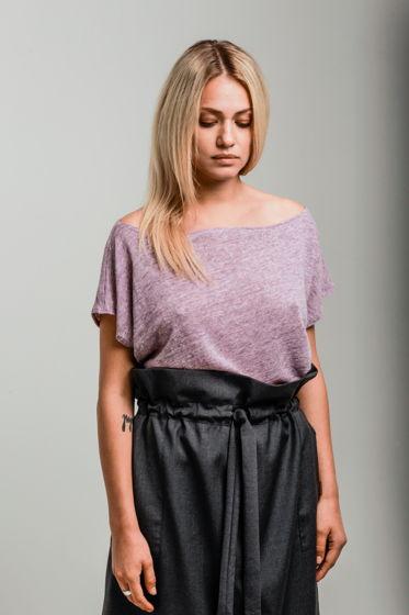 Блуза оверсайз из льняного трикотажа лавандовая