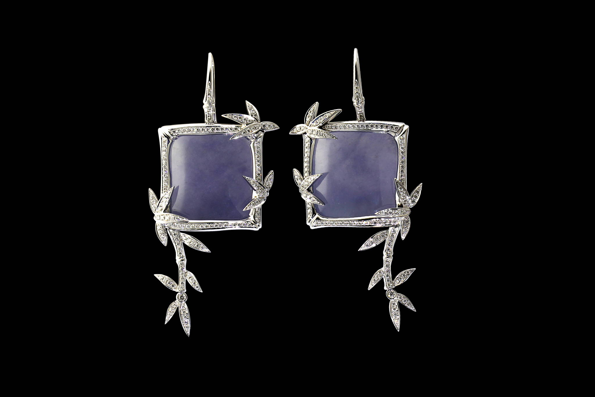 Lavender Jadeite Bamboo Earrings front view