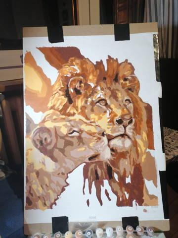 peinture par numeros client d'un couple de lions