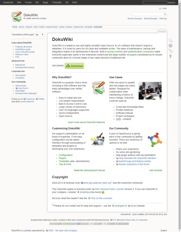 DokuWiki vs MediaWiki detailed comparison as of 2018 - Slant
