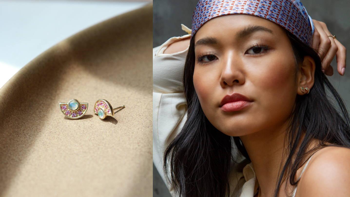 fan earrings angela monaco jewelry