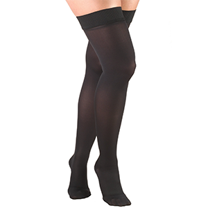 Ladies' Thigh High Closed Toe Opaque Stockings in Black