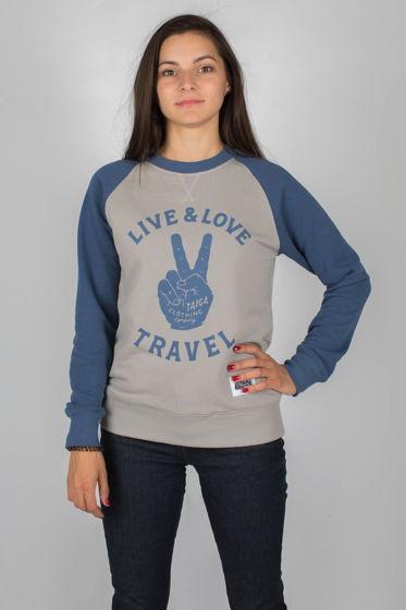 ТОЛСТОВКА ЖЕНСКАЯ: LIVE. LOVE. TRAVEL (W)
