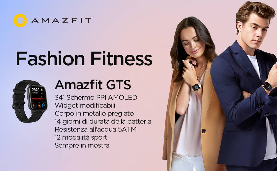 Amazfit GTS: 341 Schermo PPI AMOLED | Widget modificabili | Corpo in metallo pregiato | 14 giorni di durata della batteria | Resistenza all'acqua 5ATM | 12 modalita sport | Sempre in mostra