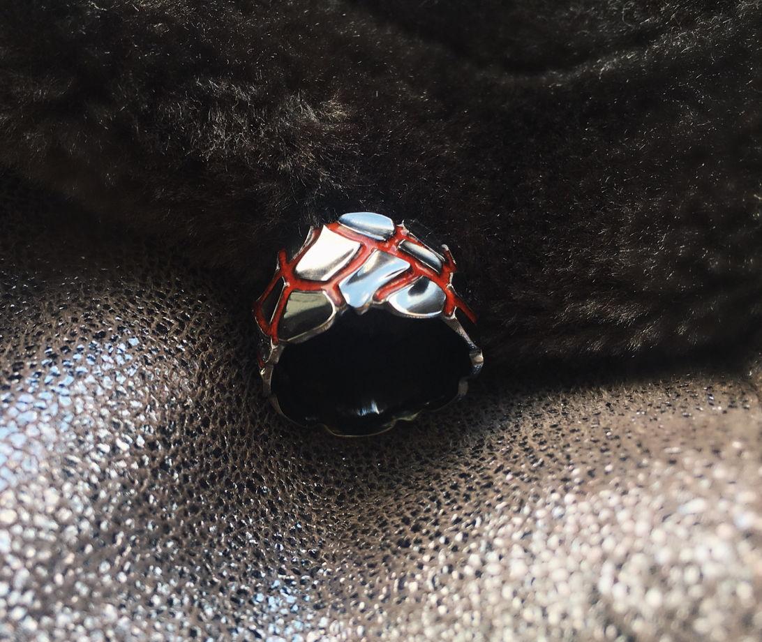 Кольцо серебряное с горячей эмалью «Лава»