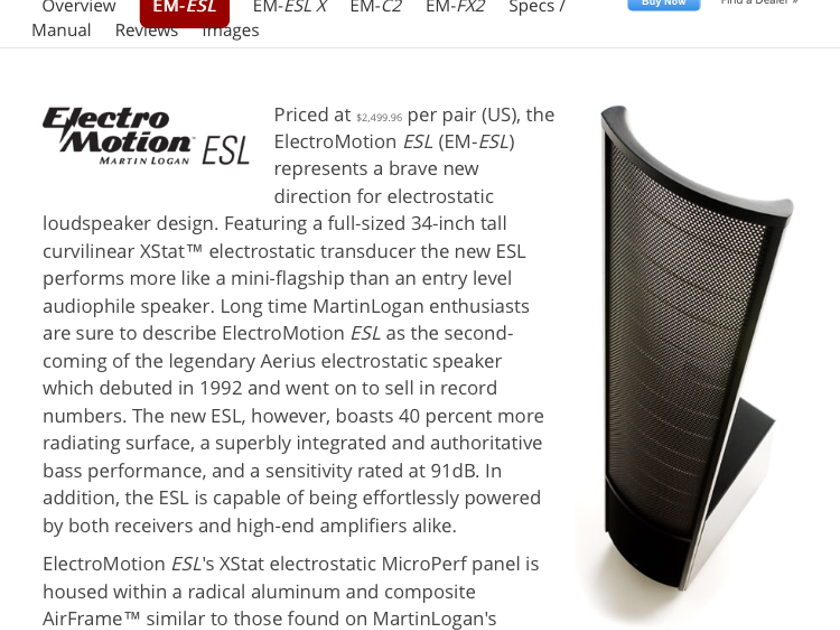 Martin Logan Electromotion ESL Black (Pair)