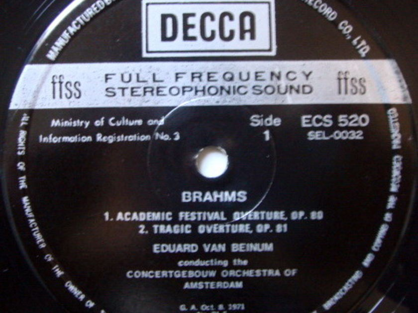 DECCA ECLIPS / VAN BEINUM, - Brahms Academic Festival Overture, NM!
