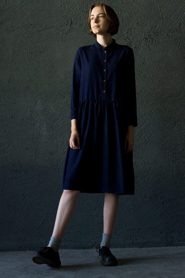 Платье с воротничком синее 2.