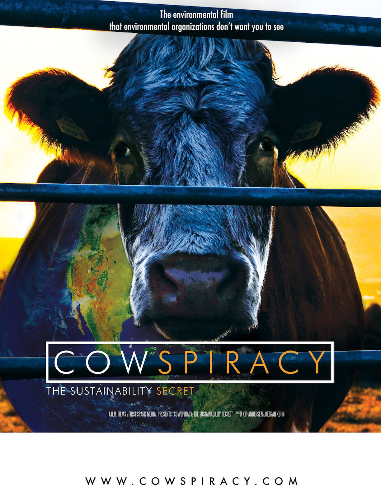 Poster of 'the Cowspiracy' that exposes the impact of large scale factory farming.