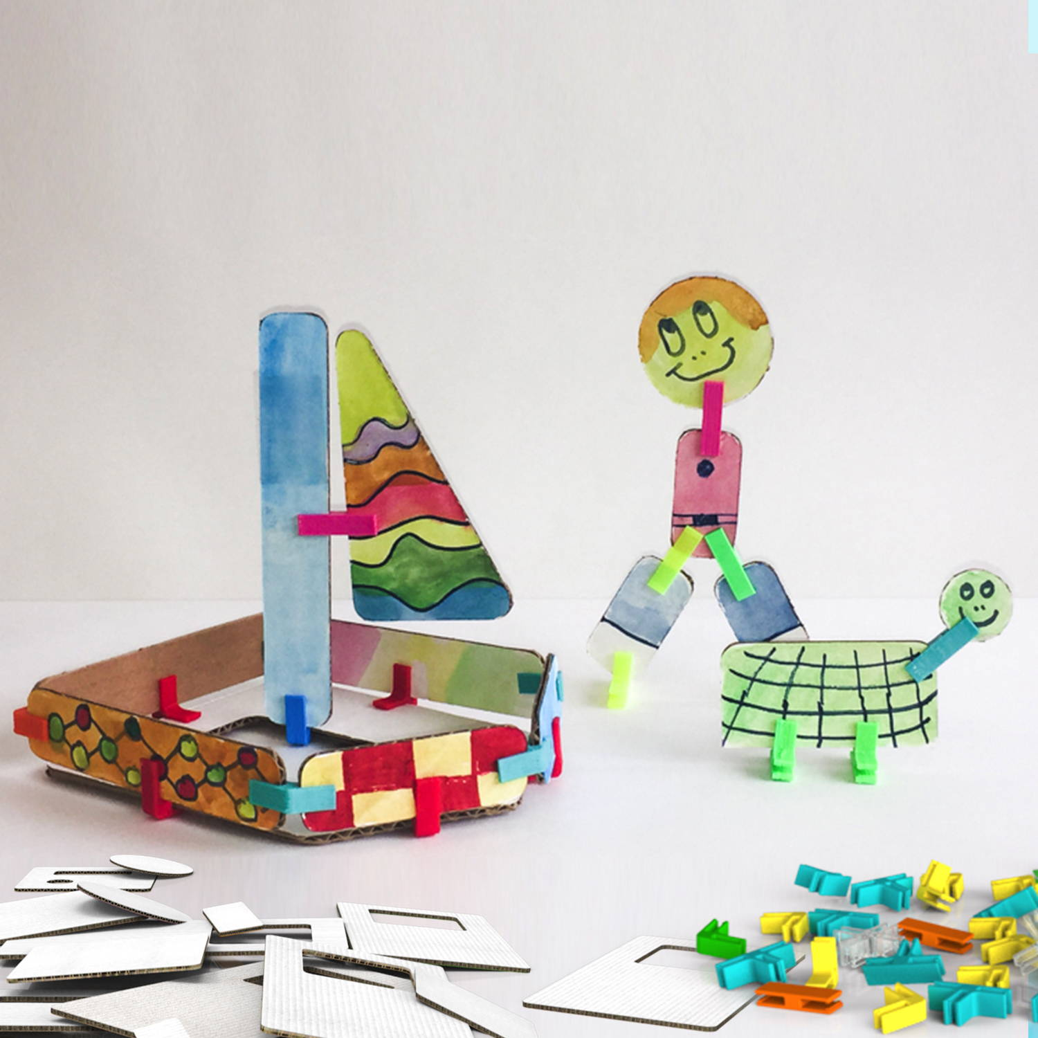 cardboard craft sailboat and animals