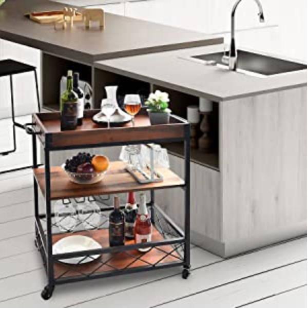 Kitchen Bar Cart, Kitchen Trolley, Kitchen Serving Cart, Wine Rack for Kitchen