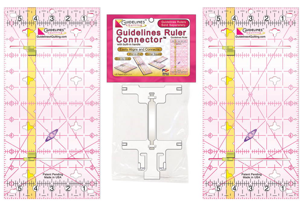 Non-Slip, Self-Aligning Guidelines Ruler and Ruler Sets by Guidelines4Quilting