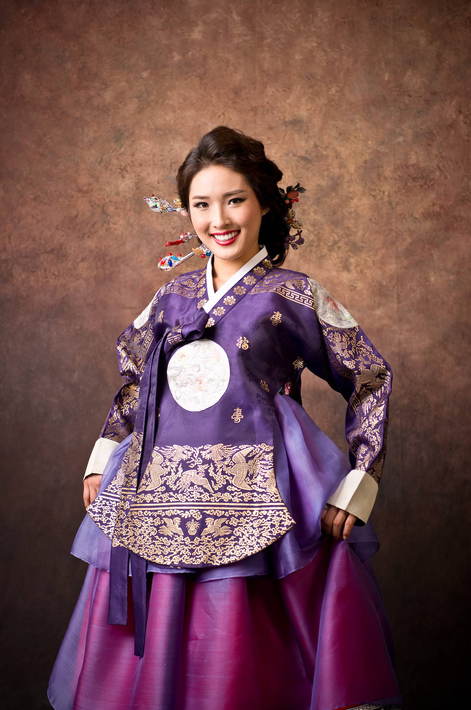 Gradient silk modern hanbok dress