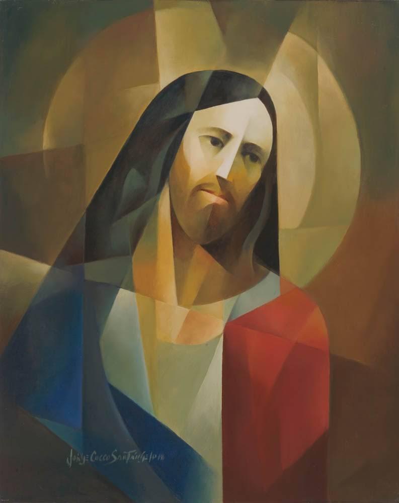 Modern, cubism-styled portait of Jesus Christ.