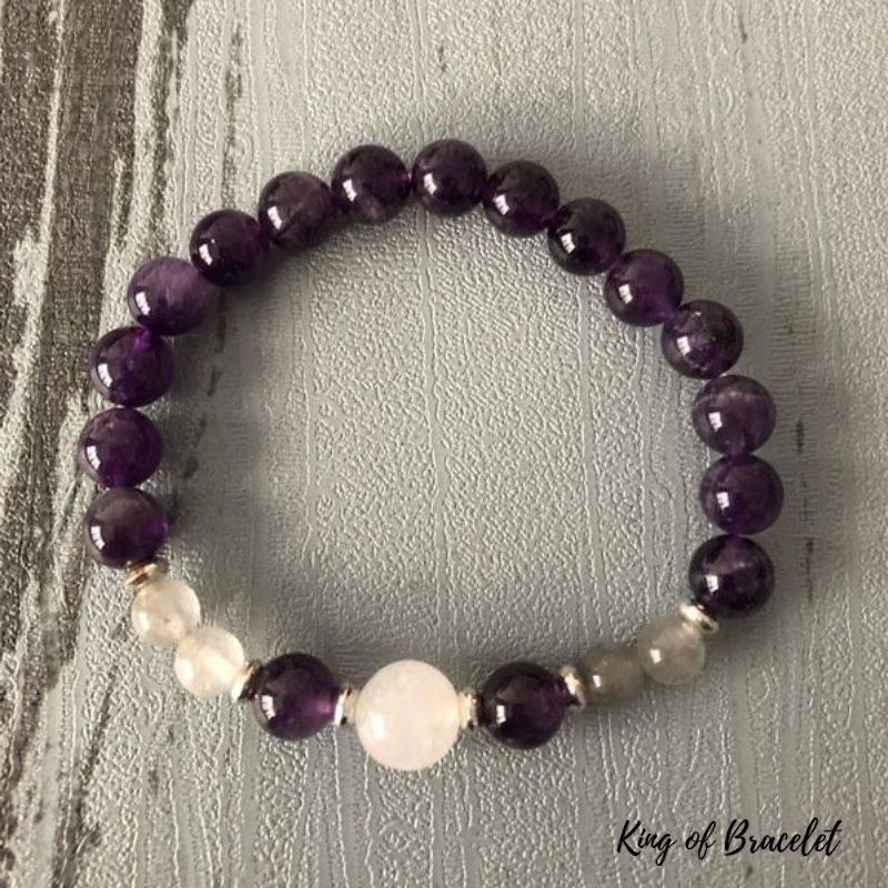 Bracelet en Perles d'Améthyste, Labradorite et Sélénite- King of Bracelet