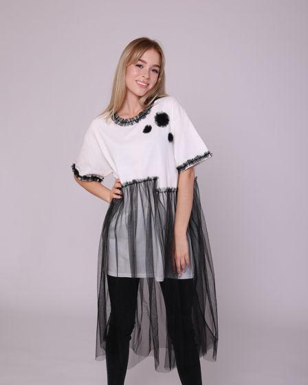 Белая футболка с контрастной сеткой
