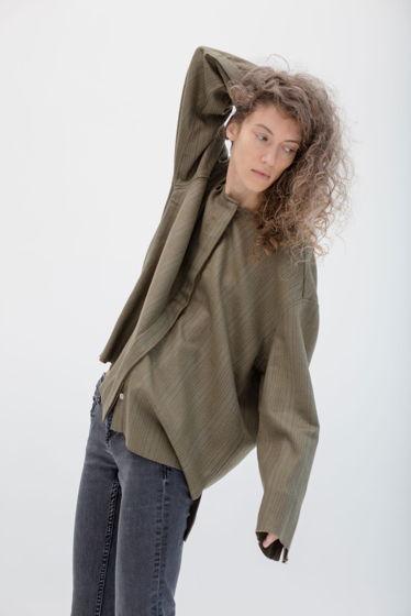 рубашка из тонкой шерсти *оливка* oversize, необработанные края, без воротника