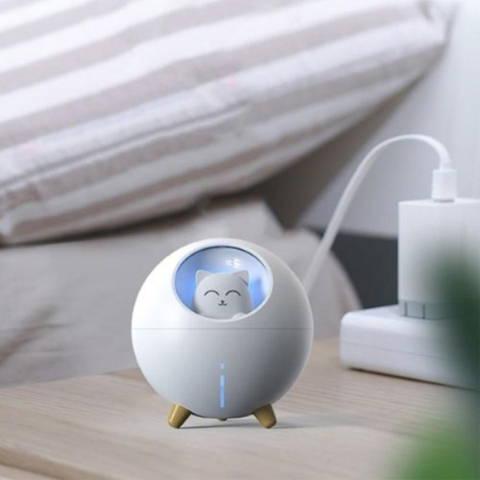 Humidificateur 220 ml planète chat lampe LED USB row3