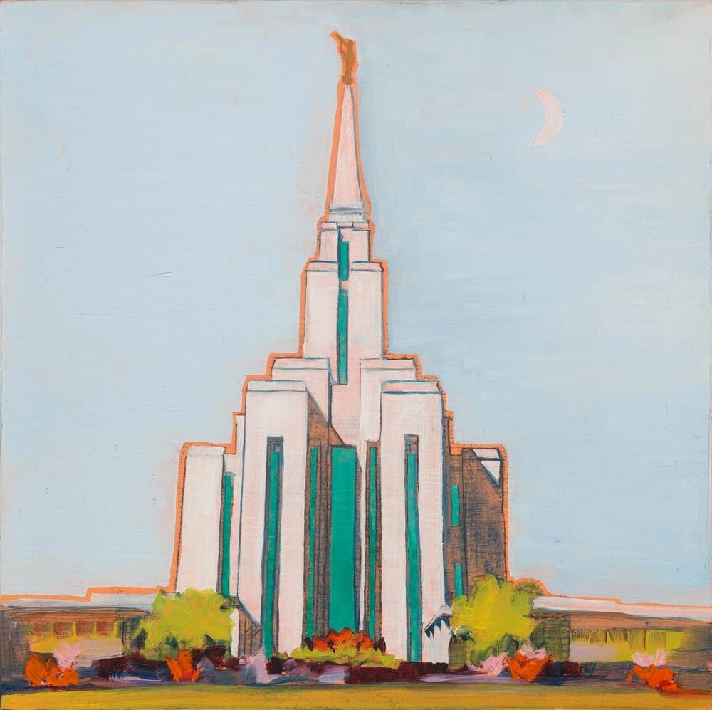 LDS art painting of the Oquirrh Mt Temple outlined in orange.