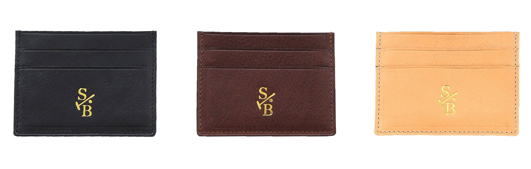 Vegetable-tanned Italian leather double sided flat wallets in black, brown & tan - Stick & Ball