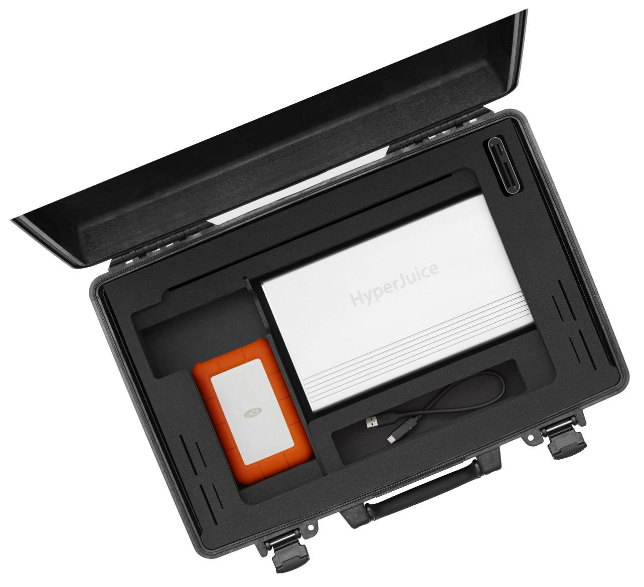 iworkcase open showing equipment storage design  on white