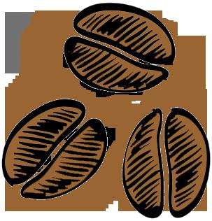 Cartoon artwork of coffee beans