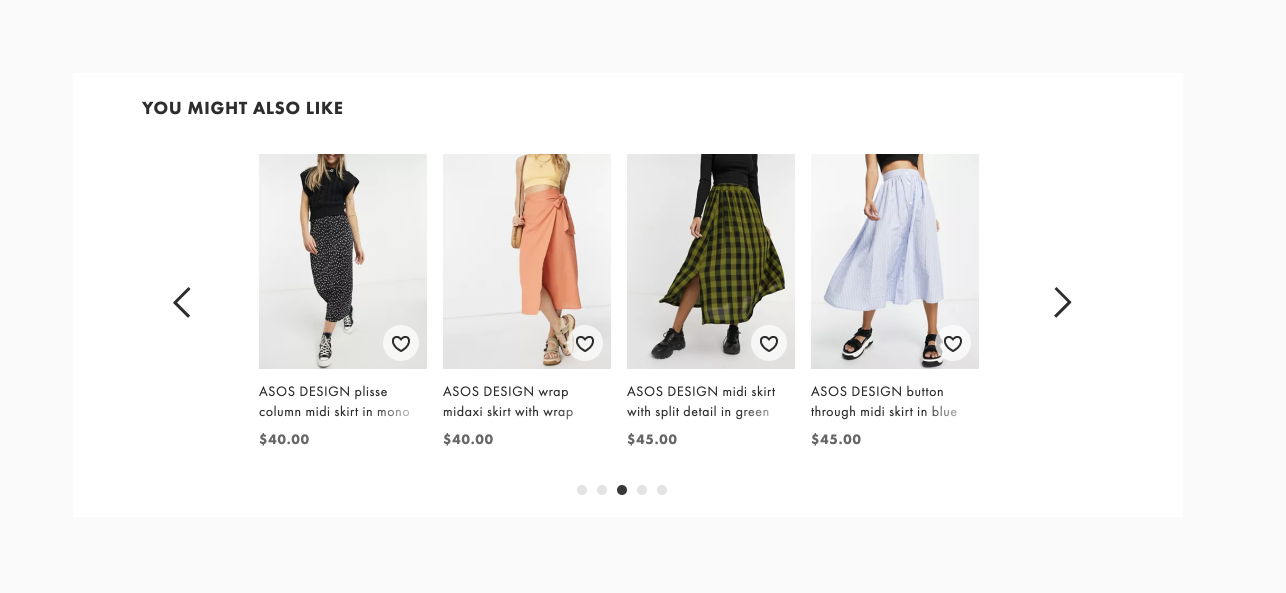 """An example of """"you might also like"""" recommendations from ASOS"""