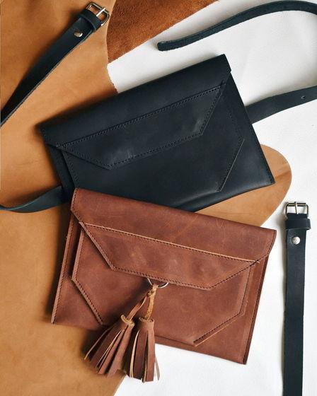 Клатч - конверт из натуральной кожи на пояс