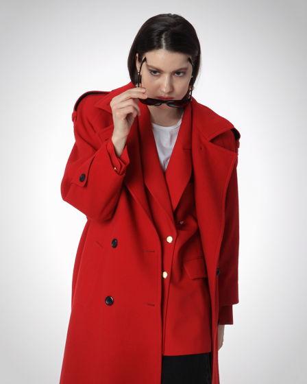 Винтажное двубортное алое пальто в морском стиле; из 90-ых