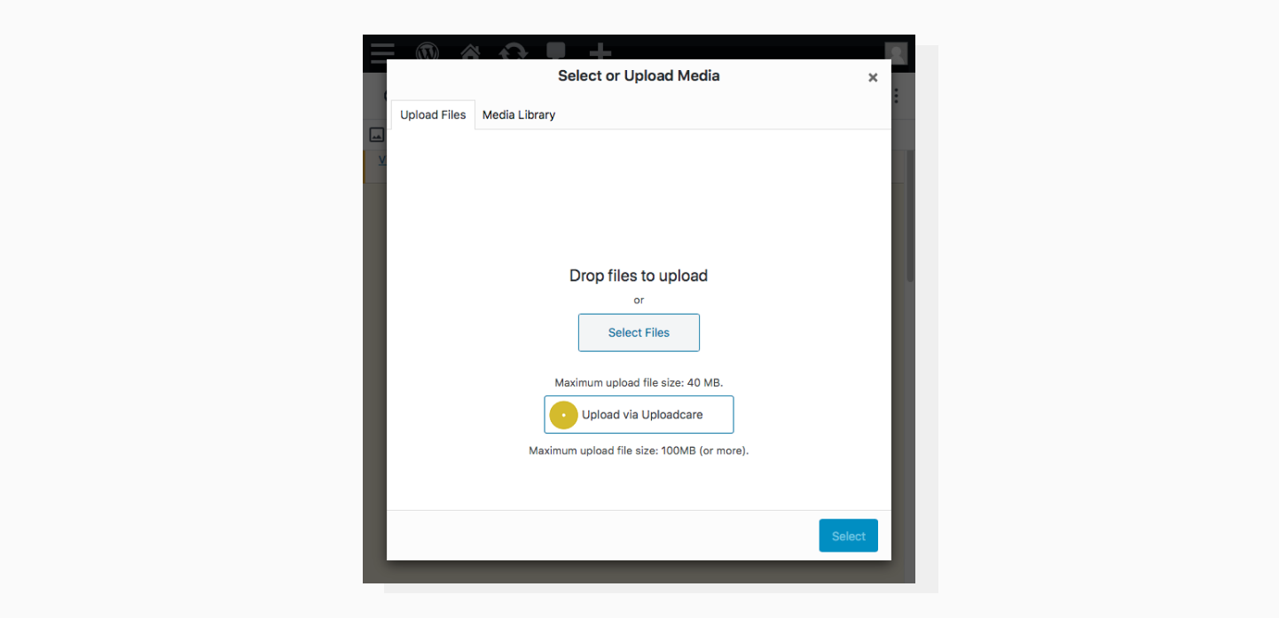 Upload images to WordPress Media Library built-in option and Uploadcare option
