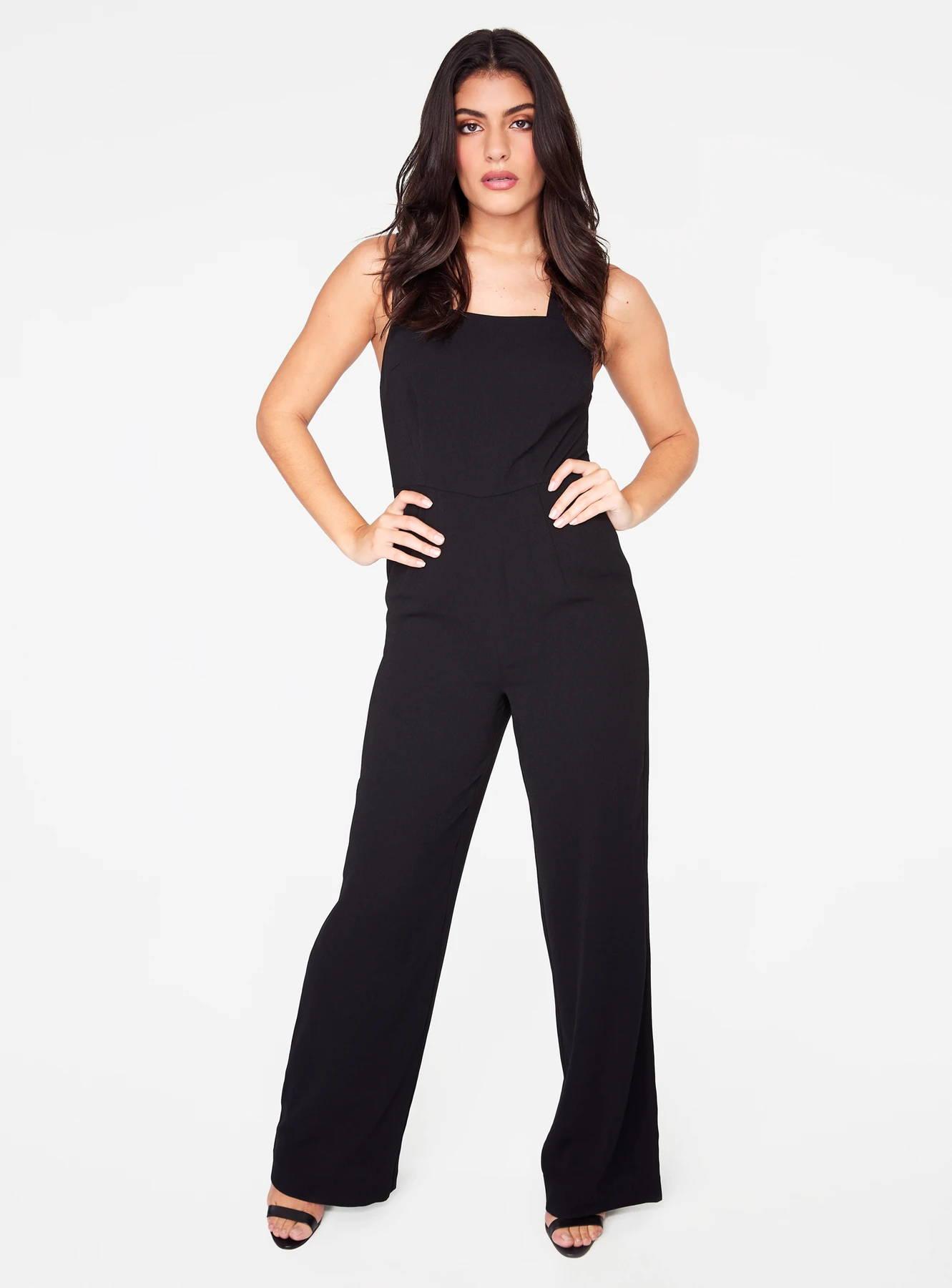 Straight Neck Jumpsuit in Black