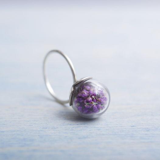 Кольцо Сфера с цветочками Тамарикс из серебра
