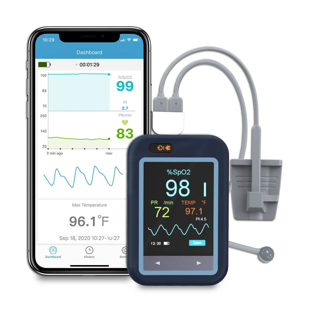 Checkme™ Pod Drahtloses Oximeter. Bluetooth O2-Monitor für O2-Level-Pulsfrequenz und Körpertemperatur. Drahtloser Monitor für die kontinuierliche Patientenüberwachung. Smart-Monitor mit kostenloser APP. Drahtloser Sauerstoffmonitor für Babys.