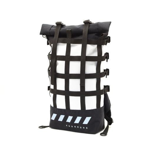 Белый ролл топ рюкзак со стропой / Сумка велосипедиста / White roll top backpack