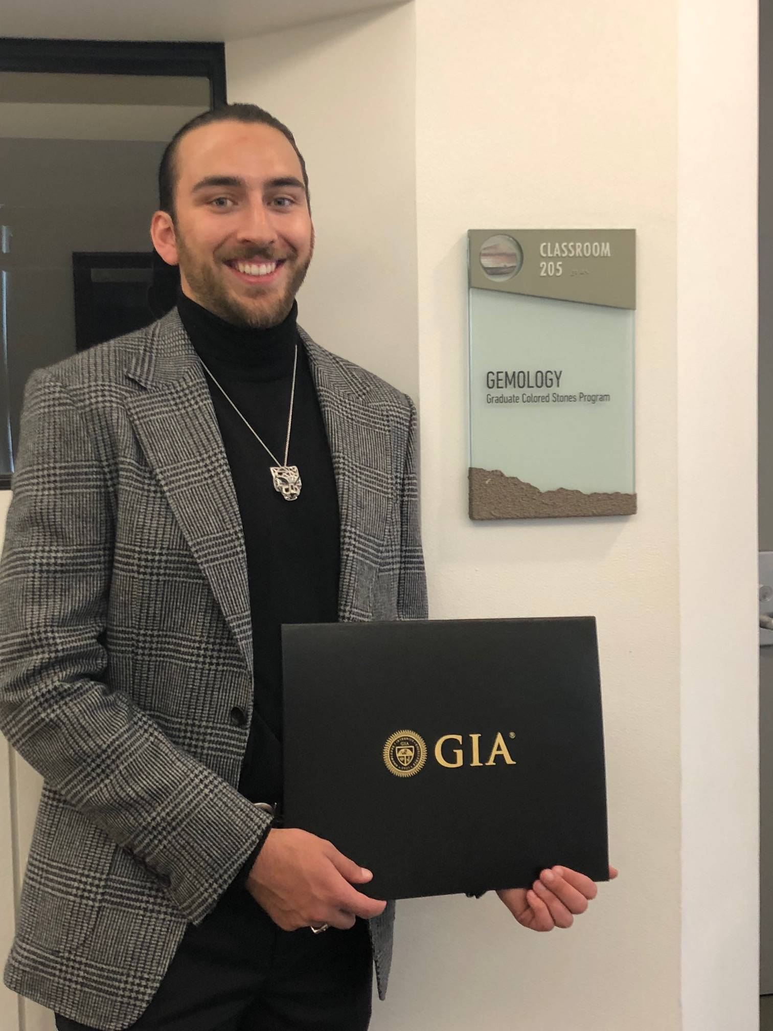 AJ with his GIA certification