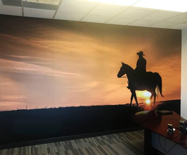 Interior Vinyl Wall Wrap -  Cowboy Wall Mural