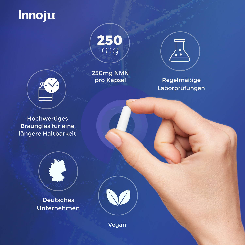 Deine Vorteile bei unserem NMN: Regelmäßige Laborprüfungen, 250 mg NMN pro Kapsel, Hochwertiges Braunglas für eine lägere Haltbarkeit, Deutsches Unternehmen, Vegan.