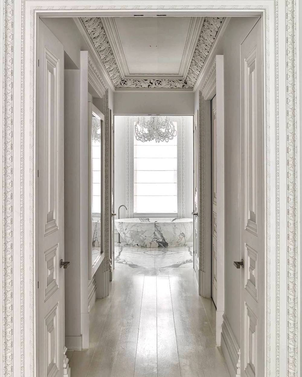 Douglas Friedman Photography: Hallway with marble bathroom view