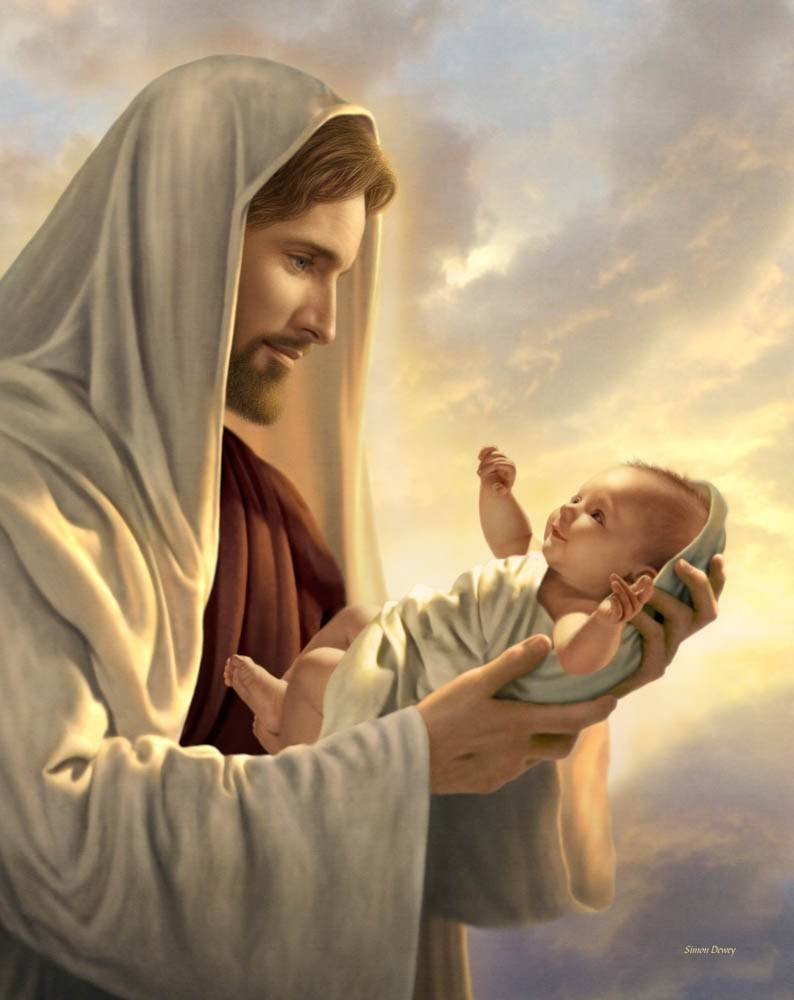 A painting of Christ tenderly holding an infant.