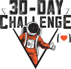 Flarespace 30 Day Challenge logo with spaceman mascot