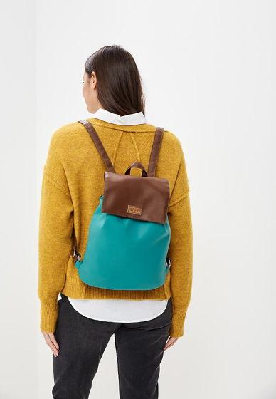 Рюкзак из экокожи комбинированный (бирюзовый, коричневый)