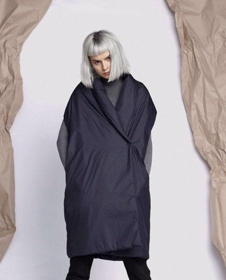 Утепленный темно синий жилет одеяло