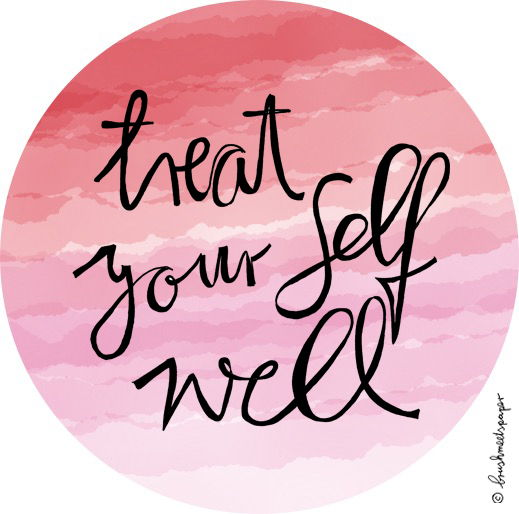 pink graphic treat your self well inspirational quote